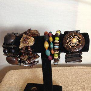 Jewelry - Lot of 6 Womens Wood Stretch Bracelets